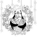 Christmas penguin with gift box zentangle doodle. Stock Photo