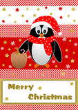 Christmas penguin with gift sack on red white checkered background. With golden stars and snowflakes and Merry Christmas lettering on white below Stock Photography