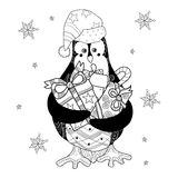 Christmas Penguin with gifts Royalty Free Stock Photos