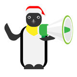 Christmas penguin holds megaphone Royalty Free Stock Images