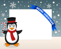 Christmas Penguin Horizontal Frame Royalty Free Stock Photo