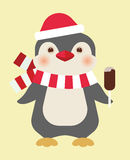 Christmas penguin with ice cream Stock Photography