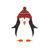 Christmas penguin icon. Penguin with hat cartoon icon. Merry Christmas season decoration figure theme. Isolated design. Vector illustration Stock Image