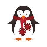 Christmas penguin icon. Penguin with hat cartoon icon. Merry Christmas season decoration figure theme. Isolated design. Vector illustration Royalty Free Stock Photo