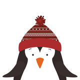 Christmas penguin icon. Penguin with hat cartoon icon. Merry Christmas season decoration figure theme. Isolated design. Vector illustration Stock Images
