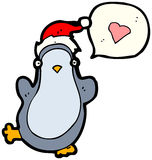 Christmas penguin in love cartoon Royalty Free Stock Photos