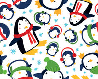 Christmas Penguin Seamless Background. Funny Christmas Penguin Seamless Background Stock Photography