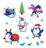Christmas Penguin Set. Cute hand drawn penguins set. Cartoon Penguin skating, slides, carries a fish in a bag, put on Santas beard. Merry Christmas and New Year Stock Photos