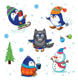 Christmas Penguin Set. Cute hand drawn penguins set. Cartoon Penguin sledding, skiing, dressed in a wolf costume. Merry Christmas and New Year illustration Stock Photos