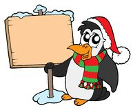 Christmas penguin with sign Royalty Free Stock Photography
