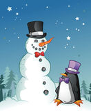 Christmas Penguin And Snowman Royalty Free Stock Photo