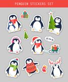 Christmas penguin stickers set, patches and labels Stock Photography