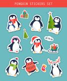 Christmas penguin stickers set, patches and labels Stock Image