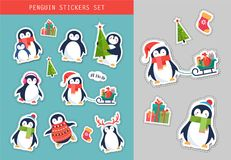 Christmas penguin stickers set, patches and labels Royalty Free Stock Photos