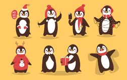 Christmas penguin vector character cartoon cute bird celebrate Xmas playfull happy penguin face smile illustration in Royalty Free Stock Image