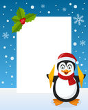 Christmas Penguin Vertical Frame Royalty Free Stock Photos