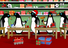 Christmas Penguin Workshop Stock Photo