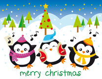 Christmas penguins. Illustration of tree penguins singing at christmas night