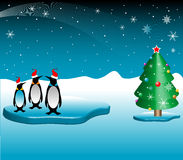 Christmas with penguins. Abstract colored illustration with three penguins floating on a piece of ice near a Christmas tree Stock Photos