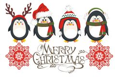 Christmas penguins card. Christmas background with penguins and snowflakes