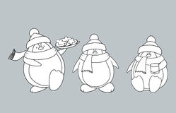 Christmas penguins coloring book. Set of 3 sweet and funny looking Christmas penguins. coloring book vector illustration Royalty Free Stock Photography
