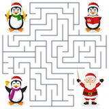 Christmas Penguins Maze for Kids. A Christmas orchestra with three cute penguin characters playing musical instruments, maze game for children. Help the three Stock Photo