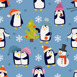 Christmas penguins seamless pattern vector. Royalty Free Stock Images