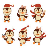 Christmas penguins set Stock Photo