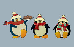 Christmas penguins. Set of 3 sweet and funny looking Christmas penguins.Isolated vector illustration Royalty Free Stock Photo