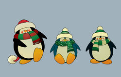 Christmas penguins. Set of 3 sweet and funny looking Christmas penguins. vector illustration Royalty Free Stock Photos