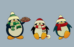 Christmas penguins. Set of 3 sweet and funny looking Christmas penguins. vector illustration Royalty Free Stock Photography