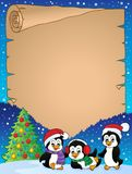 Christmas penguins thematic parchment 1 Stock Photography