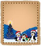 Christmas penguins thematic parchment 2 Royalty Free Stock Photo