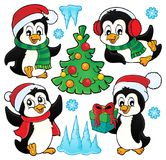 Christmas penguins thematic set 1 Royalty Free Stock Photo