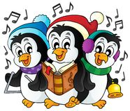 Christmas penguins theme image 1 Stock Image