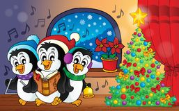 Christmas penguins theme image 3 Stock Image