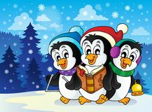 Christmas penguins theme image 2 Royalty Free Stock Image