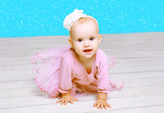 Christmas and people concept - cute little girl baby Royalty Free Stock Photos