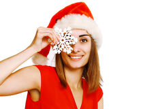 Christmas and people concept - positive woman having fun Royalty Free Stock Photography