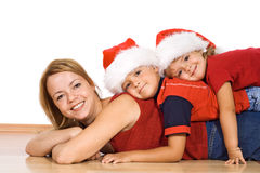 Christmas people pile - isolated Royalty Free Stock Photo