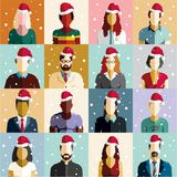 Christmas people seamless background. Christmas card. Santa hat. Vector Royalty Free Stock Photos