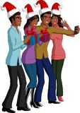 Christmas People. Vector illustration of four black friends celebrating Christmas and taking a selfie photo Stock Photos