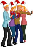 Christmas People. Vector illustration of four blonde friends celebrating Christmas and taking a selfie photo Royalty Free Stock Images