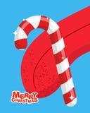 Christmas peppermint lollipop lick. mint stick Licking tongue. D Stock Photo