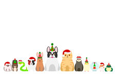 Christmas pet animals border set Royalty Free Stock Image