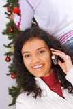 Christmas phone call Stock Images