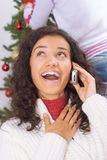 Christmas phone call Royalty Free Stock Photography