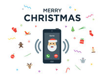 Christmas phone call from Santa Claus with Royalty Free Stock Photos