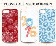 Christmas phone cases. Abstract Happy New Year background.  Hand drawn inscription. Vector illustration Stock Photography