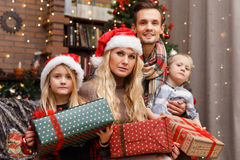 Christmas photo of beautiful family Royalty Free Stock Images